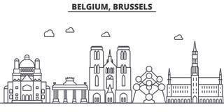 Línea ejemplo de la arquitectura de Bélgica, Bruselas del horizonte Paisaje urbano linear con las señales famosas, vistas del vec stock de ilustración