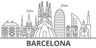 Línea ejemplo de la arquitectura de Barcelona del horizonte Paisaje urbano linear con las señales famosas, vistas de la ciudad, d libre illustration