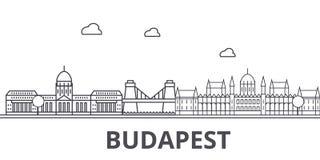 Línea ejemplo de la arquitectura de Budapest del horizonte Paisaje urbano linear con las señales famosas, vistas de la ciudad, di Foto de archivo