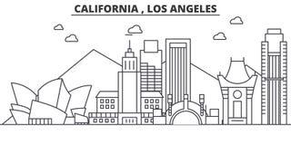 Línea ejemplo de la arquitectura de California Los Ángeles del horizonte Paisaje urbano linear con las señales famosas, ciudad de stock de ilustración