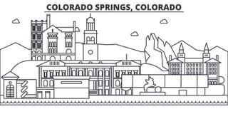 Línea ejemplo de la arquitectura de Colorado Springs del horizonte Paisaje urbano linear con las señales famosas, vistas del vect stock de ilustración