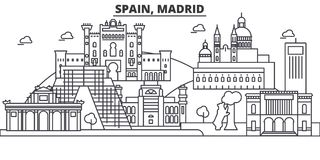 Línea ejemplo de la arquitectura de España, Madrid del horizonte Paisaje urbano linear con las señales famosas, vistas de la ciud libre illustration