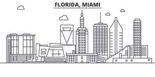 Línea ejemplo de la arquitectura de la Florida Miami del horizonte Paisaje urbano linear con las señales famosas, vistas de la ci Imagen de archivo