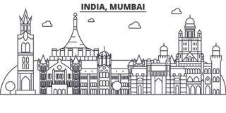 Línea ejemplo de la arquitectura de la India, Bombay del horizonte Paisaje urbano linear con las señales famosas, vistas de la ci ilustración del vector