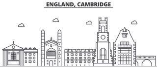 Línea ejemplo de la arquitectura de Inglaterra, Cambridge del horizonte Paisaje urbano linear con las señales famosas, vistas del libre illustration