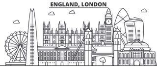 Línea ejemplo de la arquitectura de Inglaterra, Londres del horizonte Paisaje urbano linear con las señales famosas, vistas del v stock de ilustración