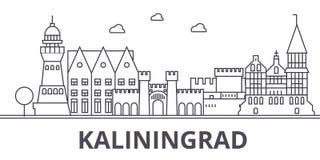 Línea ejemplo de la arquitectura de Kaliningrado del horizonte Paisaje urbano linear con las señales famosas, vistas de la ciudad stock de ilustración