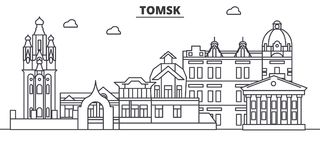 Línea ejemplo de la arquitectura de Rusia, Tomsk del horizonte Paisaje urbano linear con las señales famosas, vistas de la ciudad stock de ilustración