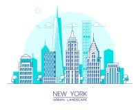 Línea ejemplo de New York City del vector Edificios y rascacielos famosos Paisaje urbano Fotografía de archivo