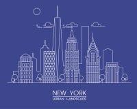 Línea ejemplo de New York City del vector Edificios y rascacielos famosos Paisaje urbano Foto de archivo