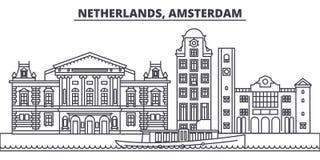 Línea ejemplo de Países Bajos, Amsterdam del vector del horizonte Paisaje urbano linear de Países Bajos, Amsterdam con las señale Fotografía de archivo