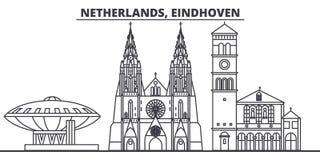 Línea ejemplo de Países Bajos, Eindhoven del vector del horizonte Paisaje urbano linear de Países Bajos, Eindhoven con las señale ilustración del vector