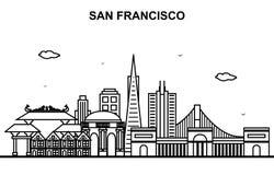 Línea ejemplo de San Francisco City Tour Cityscape Skyline del esquema ilustración del vector