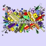 Línea ejemplo de transporte del coche del vector del diseño del arte Fotos de archivo
