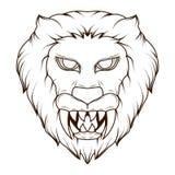Línea ejemplo del arte de un demonio principal del león espeluznante con los colmillos agudos ilustración del vector