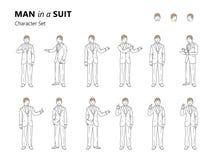 Línea ejemplo del arte de un hombre joven en un traje libre illustration