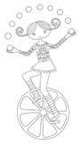 Línea ejemplo del arte del tema del circo - adolescente ilustración del vector