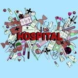Línea ejemplo del hospital del vector del diseño del arte Fotos de archivo libres de regalías