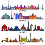 Línea ejemplo del viaje y del turismo México, Budapest, Jakarta stock de ilustración