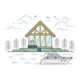 Línea ejemplo plana incluyendo paisaje, casa, bosque Imagenes de archivo