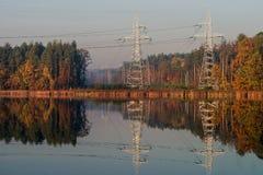 Línea eléctrica en el área despejada del bosque foto de archivo
