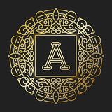 Línea elemento determinado del emblema de la insignia de la hoja de la naturaleza de la letra del texto del ejemplo del vector de Imagen de archivo libre de regalías