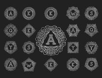 Línea elemento determinado del emblema de la insignia de la hoja de la naturaleza de la letra del texto del ejemplo del vector de Fotos de archivo