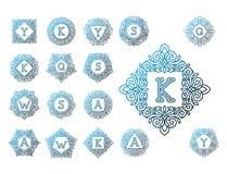 Línea elemento determinado del emblema de la insignia de la hoja de la naturaleza de la letra del texto del ejemplo del vector de Foto de archivo libre de regalías