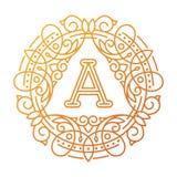 Línea elemento determinado del emblema de la insignia de la hoja de la naturaleza de la letra del texto del ejemplo del vector de Imágenes de archivo libres de regalías