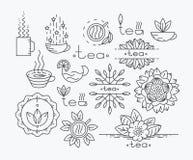 Línea elementos del diseño del té mono Imagen de archivo