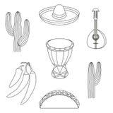 Línea elementos mexicanos blancos y negros del arte 7 ilustración del vector