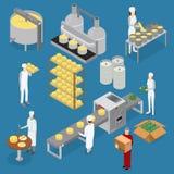 Línea elementos y personal de la producción de queso de la fábrica Vector