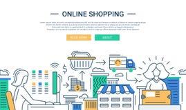 Línea en línea bandera plana de las compras del diseño con un proceso de la compra libre illustration