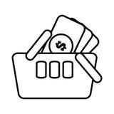 línea en línea de la moneda del dinero de las compras de la cesta Fotos de archivo