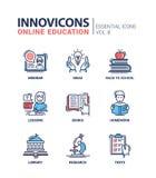 Línea en línea iconos de la educación del diseño fijados Fotos de archivo
