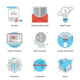 Línea en línea iconos de la educación y formación fijados libre illustration