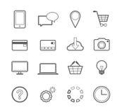 Línea en línea iconos del vector del web que hace compras Fotografía de archivo