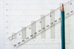 Línea escala del lápiz del gráfico Imágenes de archivo libres de regalías