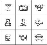Línea estilo plano del viaje de los iconos en el fondo blanco stock de ilustración