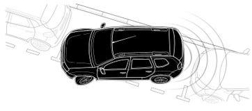 Línea estilo técnico del vector del coche del estacionamiento del drenaje imagen de archivo libre de regalías
