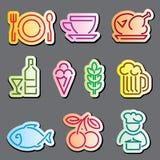 Línea etiquetas de la comida Fotografía de archivo libre de regalías