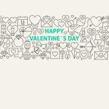 Línea feliz Art Icons Seamless Web Banner del día de tarjeta del día de San Valentín Imagen de archivo libre de regalías