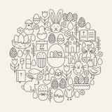 Línea feliz forma fijada iconos de Pascua del círculo stock de ilustración