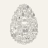 Línea feliz forma fijada iconos de Pascua del huevo ilustración del vector