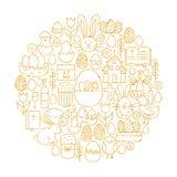 Línea feliz forma fijada iconos del día de fiesta de Pascua del oro del círculo ilustración del vector