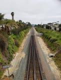 Línea ferroviaria costera en California Fotografía de archivo