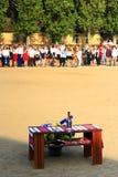 Línea festiva en la escuela en el día de fiesta del 1 de septiembre Imagenes de archivo