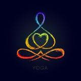Línea figura de la yoga en una actitud del loto Fotos de archivo libres de regalías