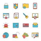 Línea fijada iconos de la seguridad informática Foto de archivo