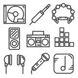 Línea fijada iconos diseño de la música stock de ilustración